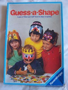 """Ravensburger GUESS-A-SHAPE GAME (60 Shapes) Age 4 - 8 - We had this -  and I remember the king's mask exactly.  When I search for """"Blinde Kuh""""  in German,  though,  the 80s carton looks different. 