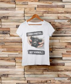 Shoot photos, not animals. Cute #fashion #vegan t-shirt at http://www.quinoa-apparel.com/products/shoot-photos-not-animals-t-shirt?variant=1625998404