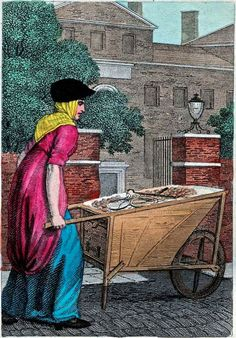 """""""Itinerant Traders of London in their Ordinary Costume with Notices of Remarkable Places given in the Background"""" by William Marshall Craig (1804): """"New potatoes – About the latter end of June and July, they become sufficiently plentiful to be cried at a tolerable rate in the streets. They are sold wholesale in markets by the bushel and retail by the pound. Three halfpence or a penny per pound is the average price from a barrow."""""""