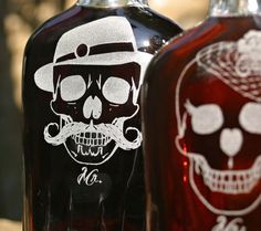 His & Hers (set of 2) Etched Glass Rockabilly Flasks, Bride and Groom,Day of the Dead, Sugar Skull, Halloween Party, Skull Wedding