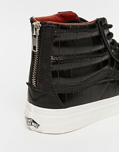 Image 4 of Vans SK8-Hi Slim Black Croc Leather Zip High Top Trainers