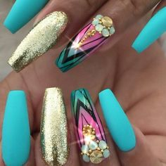 Gorgeous summer looking turquoise and gold coffins!
