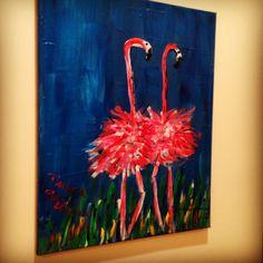 Flamingos at night painting
