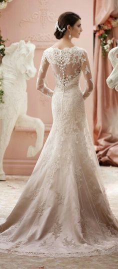 Gorgeous Long Sleeve Lace Trumpet Silhouette Bridal Gown, A Classic, Sophia Tolli
