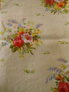 Antique Vtg. French Cottage Roses Cotton Fabric ~ Pink Yellow lavender Aqua