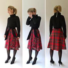 Kurzpullover mit einem vielseitig kombinierbarem Wickelrock aus echtem Schottenkaro Cropped Pullover, Skater Skirt, Skirts, Shopping, Fashion, Moda, Fashion Styles, Skater Skirts, Skirt