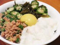 """Neba Neba Don - sticky rice bowl with natto! : """"In Japanese, Neba Neba means sticky or slimy. All the ingredients in this dish resemble the texture of natto, and are just as good for you. I heard that Nebe Neba Don is served in cafeterias in Japan, and I wouldn't be surprised why. All the ingredients are super foods themselves."""""""