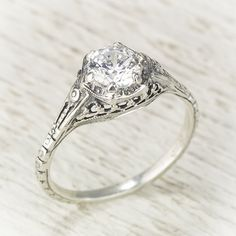 Filigree Antique Vintage Engagement Diamond Ring by spexton, $3450.00