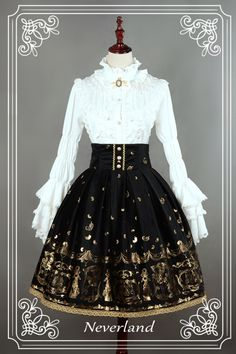 Neverland Lolita ~Golden Swan Lake~ Gold Stamping High Waist Lolita Skirt Black M + Match Headbow In Stock Old Fashion Dresses, Old Dresses, Pretty Dresses, Vintage Dresses, Fashion Outfits, Fashion Shirts, Dress Fashion, Fashion Boots, Kawaii Fashion