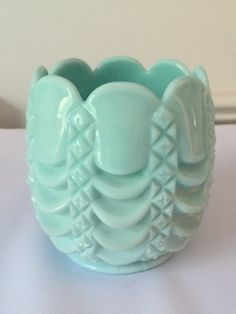 Fostoria #1200 Vase, Aqua Milk Glass, 1950's