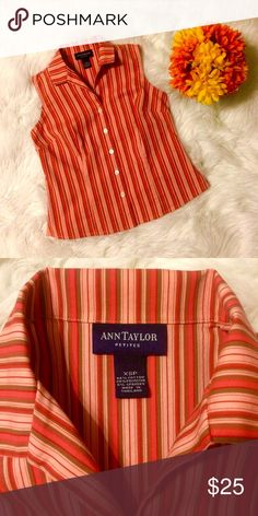 Ann Taylor Petites Striped Top Beautiful Fall colors sleeveless button down top. Transitions great between seasons. Wear it alone with jeans or shorts in the warm months and layer it under a jacket or cardigan in the Fall. Excellent condition. Ann Taylor Tops Button Down Shirts