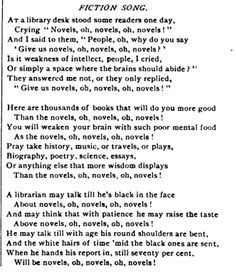 "1890: The popularity of novels among library patrons is still a source of some controversy in librarianship, as evidenced by this poem about fiction in the November issue of ALA's Library Journal. (To the tune of ""Willow, Tit-Willow"" in Gilbert and Sullivan's Mikado, 1885.)"