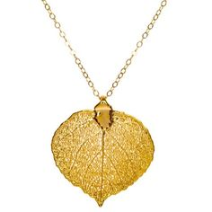 Real Aspen Leaf Necklace   Nature Jewelry