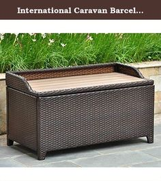 International Caravan Barcelona 40 in. Resin Wicker 60 Gallon Storage Deck Box with Faux Wood Top. The International Caravan Barcelona 40 in. Resin Wicker Outdoor Trunk/Coffee Table with Faux Wood Top is a smart and stylish addition to any outdoor space. Constructed from rust-free aluminum, this durable resin wicker storage trunk features an all-weather finish you can trust to keep poolside. The easy-to-open unit features an ample storage space beneath a slatted polywood table surface....