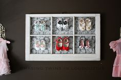 I found this pinning... a customer made a little frame for some of our shoes.  Love the idea!