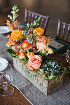 Centerpiece in wooden box. Love the succulent!