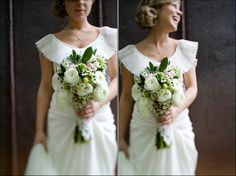 classic wedding inspiration, vintage wedding dress, white wedding flowers