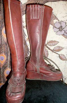 Vintage RARE Platform Boho Hippie Brown Leather MOD Winter Boots 60's 70's 5 5.5. $40.00, via Etsy.