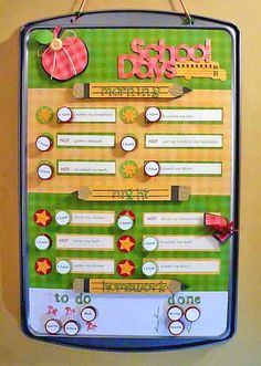 Cute chore chart (morning and night checklist)...magnets on cookie sheet