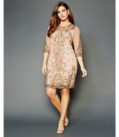 6dd1fabf710 Pisarro Nights Plus Illusion Sleeve Beaded Sheath Dress