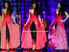 Jacqueline Fernandez walked for designer Jyotsna Tiwari at the Bridal Fashion Week. Western Dresses For Women, Western Outfits, Indian Attire, Indian Wear, Indian Style, Indian Dresses, Indian Outfits, Indian Clothes, Indiana