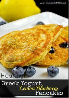 Healthy Greek Yogurt Lemon Blueberry Pancakes