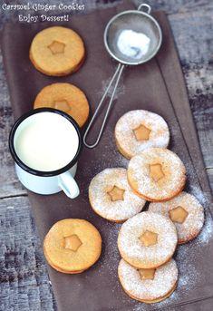 Cinnamon Ginger Cookies with Caramel Cream Caramel Cookies, Ginger Cookies, Creme Caramel, Doughnut, Cinnamon, Cream, Baking, Desserts, Food