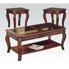 Best Transitional Brown Cherry Occasional Table Set Coaster 400 x 300