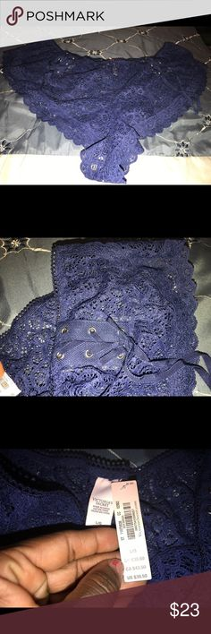 New Victoria Secret Panties Navy Blue lace Vs Panties size large fit more like a xlarge.. not true to size! Victoria's Secret Intimates & Sleepwear Panties