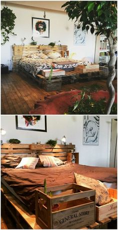 Minimalist Pallet Bed Frame & Headboard - Bed Headboard - Ideas of Bed Headboard - To make this bed frame I used ten pallets and leftover wine crates after family meals.For the mattress 8 pallets were fastened together. Pallet Bedframe, Wood Pallet Beds, Diy Pallet Bed, Diy Pallet Projects, Pallet Furniture, Pallet Ideas, Garden Furniture, Furniture Ideas, Pallet Headboards