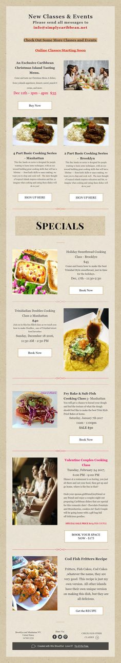 New Classes & Events New Class, Cooking Classes, Events