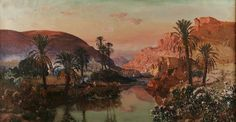 Algérie - Peintre Francais Maxime NOIRÉ (1861-1927), huile sur toile , Titre : Oued dans un oasis