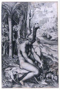 Venus gewond door een doorn, Marco Dente, circa 1516 | Museum Boijmans Van Beuningen