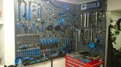 Tool Organization, Tool Storage, Garage Storage, Bike Tools, Garage Tools, Workshop Ideas, Garage Workshop, Tool Pegboard, Bicycle Store