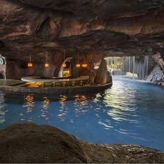 Enjoying the Grotto Bar and Waterfall at the @HyattMaui Maui, Hawaii. #hyattmaui