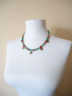 Doğaltaşlı renkli otantik kolye, otantik kolye. 265123 | zet.com