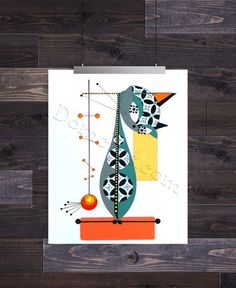Letter I, Mid Century Modern Cat Alphabet, Giclee Print by Domini – Domcats Thing 1, Create Words, Letter I, Mid Century Modern Design, Minimalist Design, Cat Art, Giclee Print, Mid-century Modern, Alphabet
