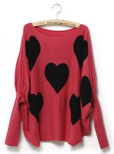Sweet Heart Bat Sleeve  Sweater$45.00