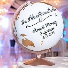 Guestbook Globe – Wedding Guestbook Alternative Globe – Travel Wedding – Adventure – Custom Hand Lettering – World Globe – Diameter - # Silver Leaf Painting, Wedding Guest Book Alternatives, Wedding Ideas, Wedding Decor, Rustic Wedding, Wedding Cakes, Gold Globe, Longing Quotes, Ocean Colors