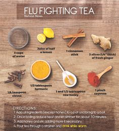 All natural and effective flu-fighting tea recipe: Herbal Remedies, Health Remedies, Natural Cold Remedies, Flu And Cold Remedies, Home Remedies For Flu, Sore Throat Remedies, Tea Blends, Tea Recipes, Kefir Recipes