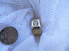 Vintage Large Rhinestone Mens Ring Size 9 | RosesHeirlooms - Jewelry on ArtFire