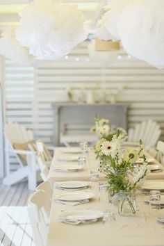 A Beach Cottage Summer Party on the Deck - white themed party with flowers, adirondacks for coastal vintage style beachy decor