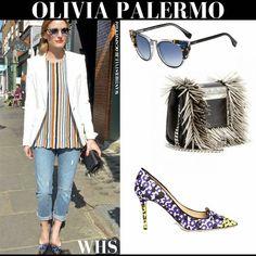 Olivia Palermo in purple yellow leopard print pumps with white blazer and cat eye sunglasses #oliviapalermo #fashion #style #streetstyle #chic #newyork #jimmychoo #accessories #fendi