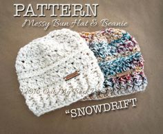 CROCHET PATTERN for Snowdrift Messy Bun Hat / by OutMyBackWindow