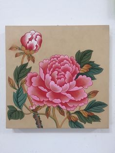 Acrylic Painting Flowers, Fabric Painting, Korean Art, Asian Art, Brush Strokes Painting, Oriental Flowers, Korean Painting, Black And White Flowers, Peony Flower