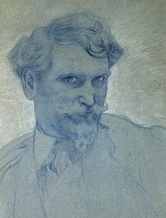 Alphonse Mucha - Self portrait - I need to draw a badass SP of myself like this. Damn!