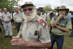 A supporter of the Afrikaner Resistance Movement (AWB) arrives for the funeral of AWB leader Eugene Terre'blanche in Ventersdorp in South Africa's North West Province