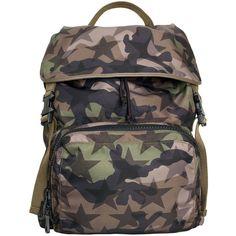 Valentino Garavani Nylon Camostar backpack (4.220 BRL) ❤ liked on Polyvore featuring men's fashion, men's bags, men's backpacks and verde
