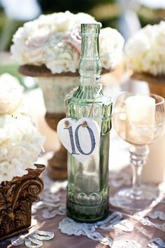 table numbers...use the colored bottles from ikea? 99 cents