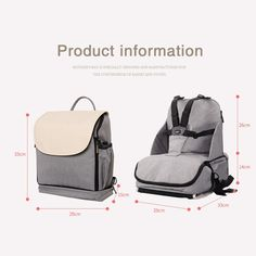 Babypie portable baby dining chair multi-function storage bag baby out eating seat. A good helper for fashion moms, multi-functional portable dining chair. Baby Booster Seat, Mothers Bag, Baby Chair, Diaper Bag Backpack, Traveling With Baby, Mom Style, Bag Storage, Baby Strollers, Dining Chairs